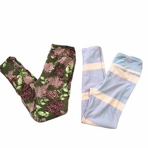 LuLaRoe one size floral & striped leggings.